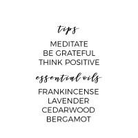 Tips for a healthy Spirit: meditate, be grateful, think positive. Essential Oils for the Spirit: Frankincense, Lavender, Cedarwood, Bergamot