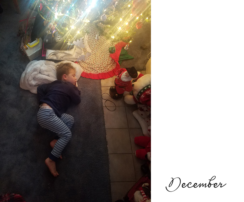 A little boy curled up under the twinkling lights of the Christmas tree