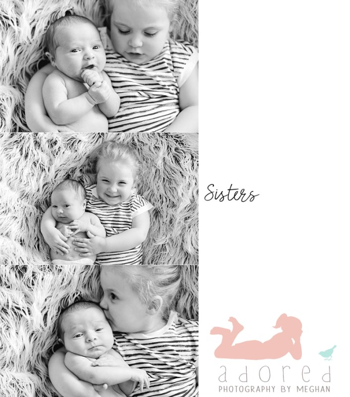 Black and white newborn baby photos of Sisters snuggled up together.