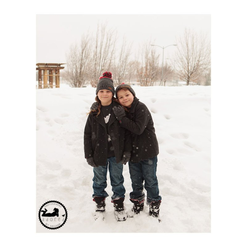 Twin brothers, Tri-Cities family photographer, photos in the snow, with Adored by Meghan.