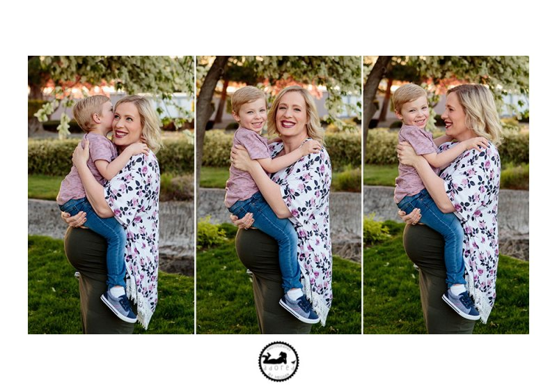Maternity photos with Adored by Meghan photography, big brother to twins