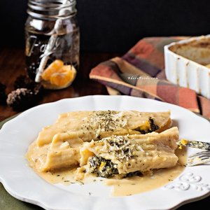 Baked Pumpkin and Kale Manicotti with Miso Sauce