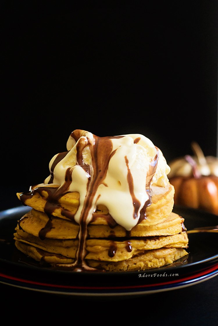 Pumpkin Pancakes with Vanilla Ice-cream and Nutella