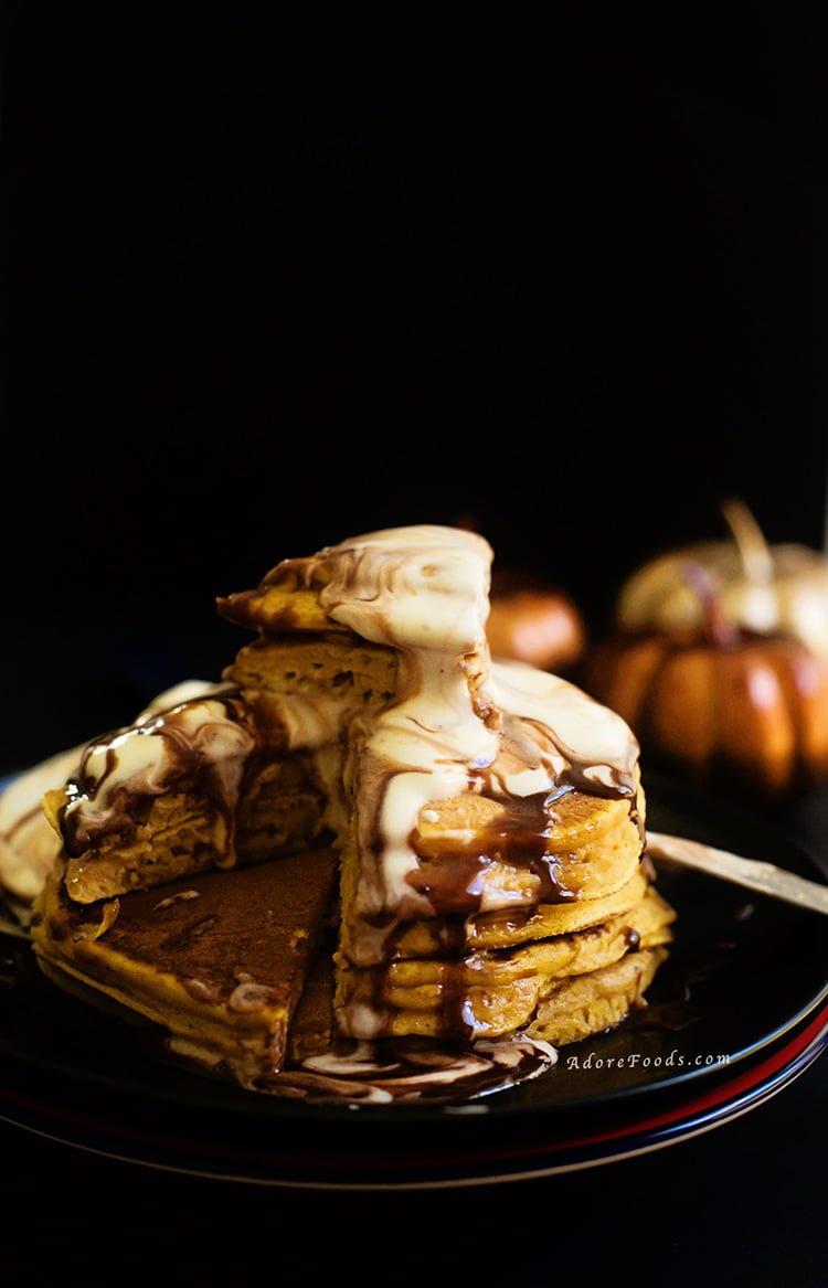 Pumpkin Pancakes with Vanilla Ice-cream and Nutella