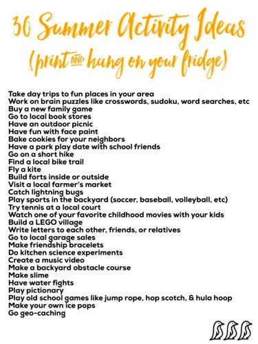 30 Summer Activity Ideas