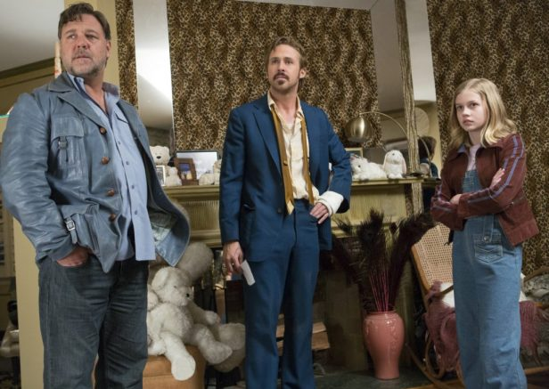THE NICE GUYS - Jackson Healy (Russell Crowe), Holland und Holly March (Ryan Gosling, Angourie Rice) - © Concorde Filmverleih