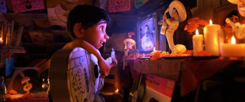 """In Disney•Pixar's """"Coco,"""" Miguel (voice of newcomer Anthony Gonzalez), whostruggles against his family's generations-old ban on music, creates a secret space where he can play his guitar and soak up the on-screen talent of his idol, Ernesto de la Cruz (voice of Benjamin Bratt). Directed by Lee Unkrich (""""Toy Story 3""""), co-directed by Adrian Molina (story artist """"Monsters University"""") and produced by Darla K. Anderson (""""Toy Story 3""""), Disney•Pixar's""""Coco"""" opens in U.S. theaters on Nov. 22, 2017. ©2017 Disney•Pixar. All Rights Reserved."""