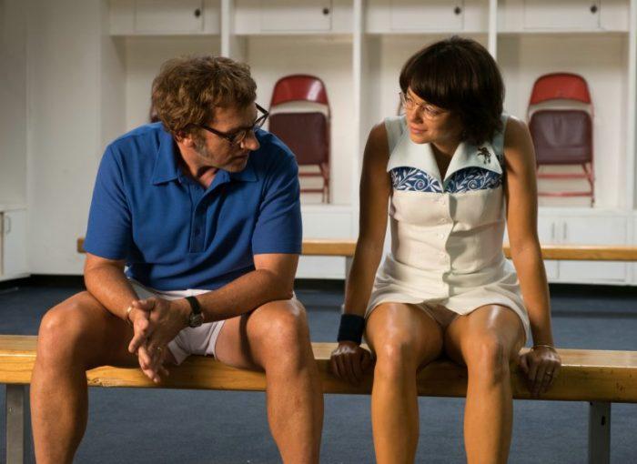 Szenenbild aus BATTLE OF THE SEXES (2017) - Bobby Riggs (Steve Carell) und Billie Jean King (Emma Stone) - © 20th Century Fox