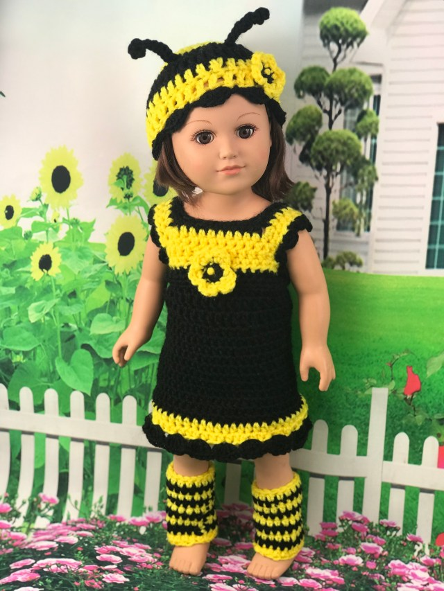 Free Crochet Pattern 18 Doll Bumblebee Outfit Adoring Doll Clothes