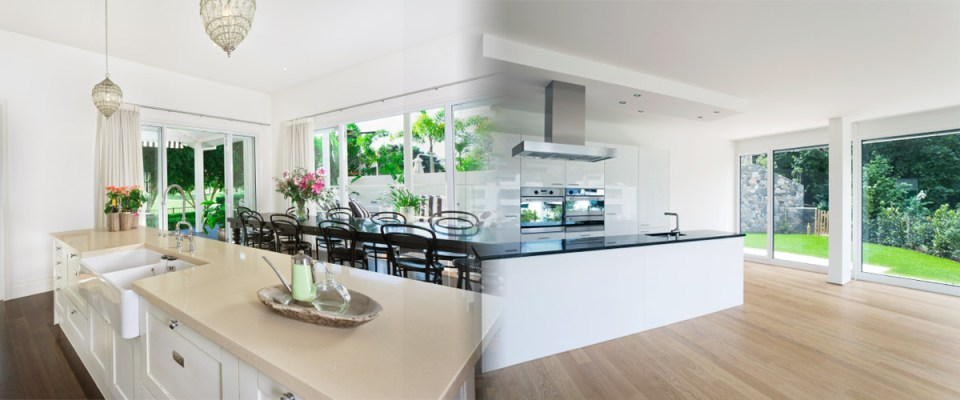 Kitchen - white walls, smooth plastered room