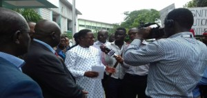 Mr. Peter Amewu receiving the petition