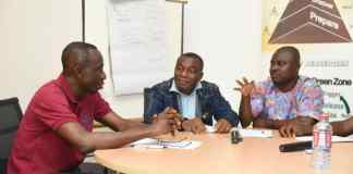 Mediators in a discussion at an ADR Moot Camp in Accra