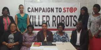 Dr Ayoola Amaale (seated middle), Mrs Osei-Konadu (seated second from right) and other WILPF Executives after the press briefing