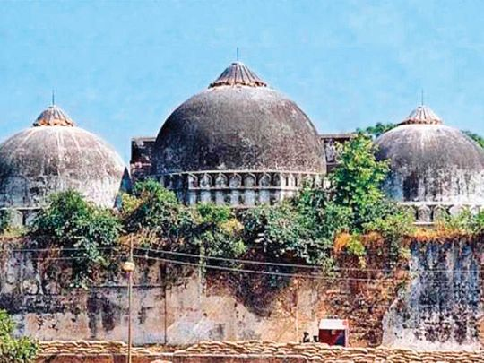 The Babri mosque in Ayodhya, before its demolition