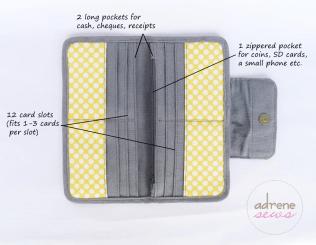 yellow grey wallet open