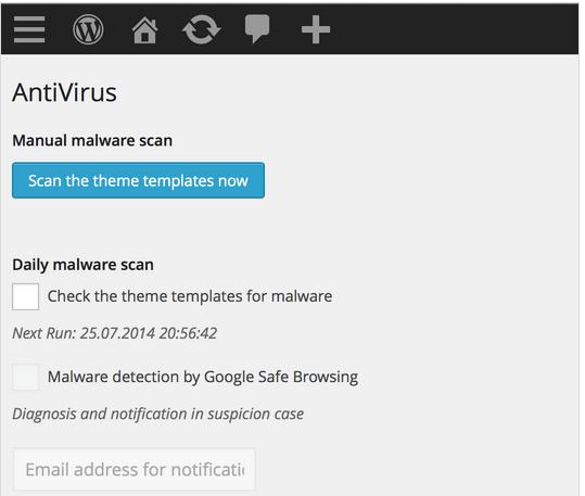 wordpress antivirus prikljucak