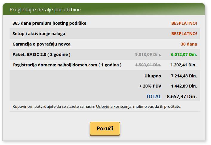 pregled detalja porudžbine naručivanja hostinga i domena