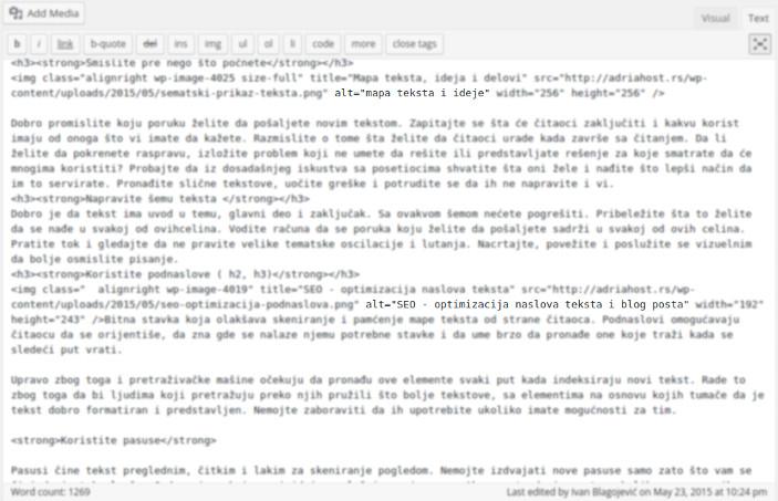 unosenje alt teksta u kod teksta