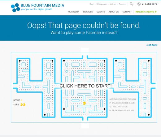 Blue fountan 404 page
