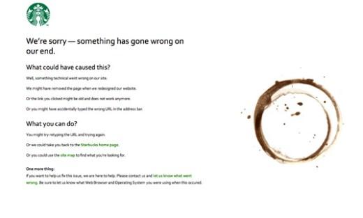 Starbucks 404 page