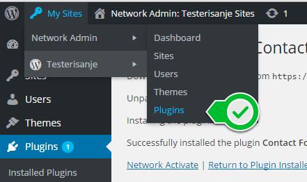 my sites network admin plugins