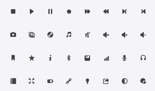 Delicate black icons