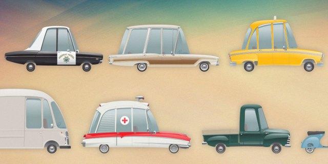 Retro vehicles icon set