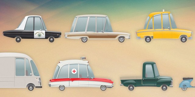 Retro vehicles icon set