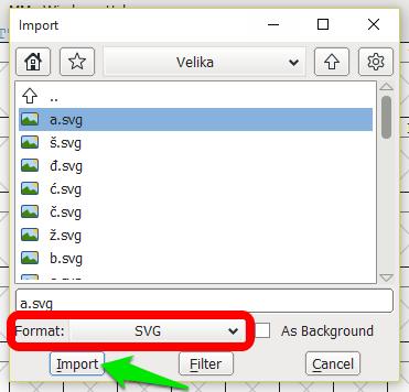 FontForge - uvoz fontova u SVG formatu