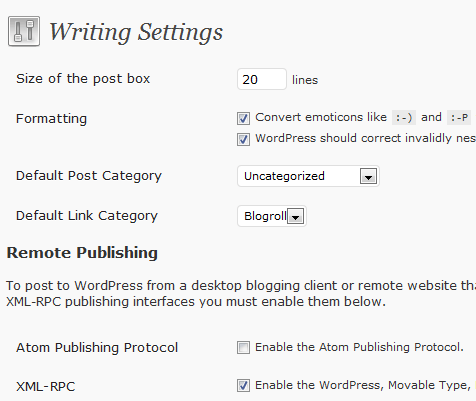 WordPress Writing Settings