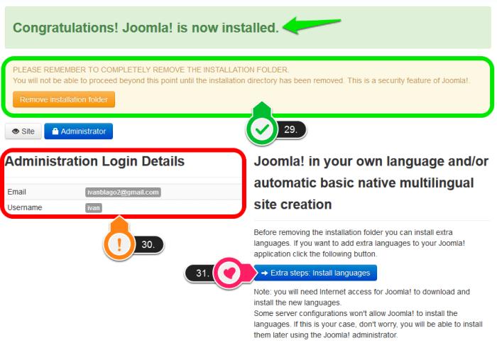 Joomla - instalacija slika 4 Joomla je instalirana