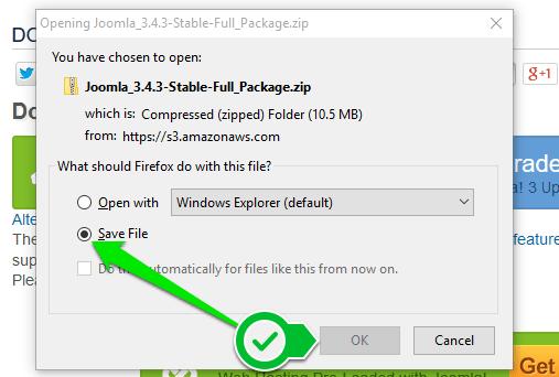 Јоомла - преузимање инсталационог пакета 2