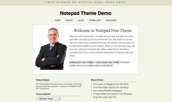 Notepad wordpress theme