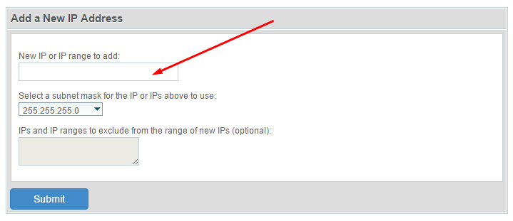 Додавање нове ИП адресе цПанел WХМ слика 2