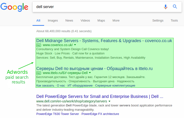 Adwords search results