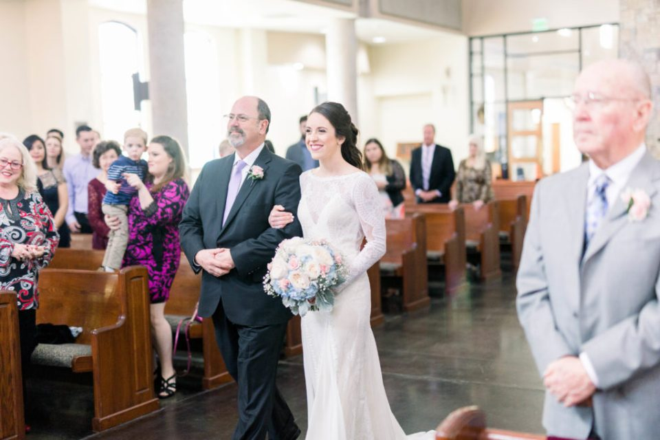 Wedding Photos on Film by Adria Lea Photography Dallas Wedding Photographer | bride coming down the aisle