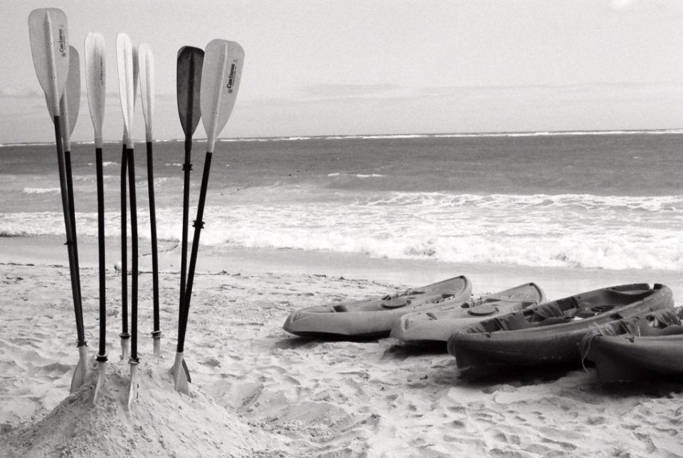 Dallas Photographer Adria Lea Photography black and white film photography, canoes on beach