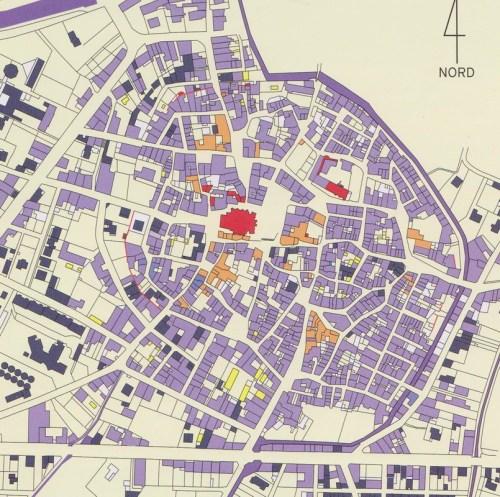 Chronologie des bâtiments recensés dans le village de CAPESTANG : Moyen-Âge- rouge; XIXè siécle-parme; Edifices modernes-galben  >  >                 Sursa:Inventaire du patrimoine de la commune de Capestang (Hérault), 2003