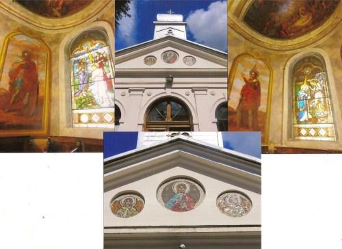 Interiorul bisericii Oțetari cu picturile executate de Ghe. Tătărescu.