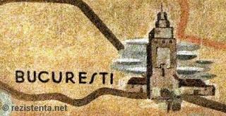 O fresca din gara Geneva, instalata in anii '20, reprezinta simbolic orasul Bucurresti prin... imaginea turnului Colței, demult disparut (foto rezistenta.net)