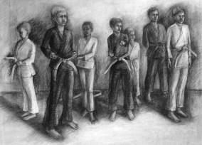 "LIne Up, Adriana Burgos, 2014, charcoal on paper ,38.5"" x 29.5"""