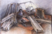 """""""Derailed"""", Adriana Burgos 2010, Charcoal and pastel on paper 38.5"""" x 29"""""""