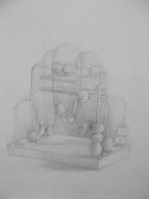 """Beads"", Adriana Burgos, silverpoint on prepared paper, 10""x 13"", 2008"