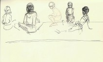 Adriana Burgos, line gesture, karate sketchbooks, copic multiliner and graphite