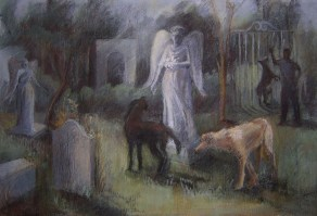 """""""Graveyard"""", Adriana Burgos charcoal and pastel on paper, 26.5 x 18 inches, 2009"""