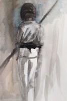 """Adriana Burgos, """"Bow Pole"""", mixed media 8 x 11"""