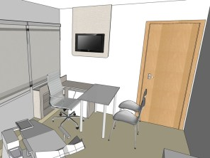 Painéis e estantes novas para o consultório