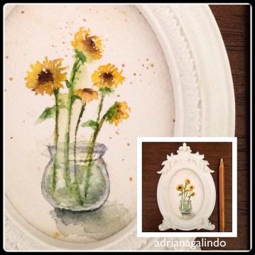 Amor em miniatura, aquarela miniatura #adrianagalindo Little love, miniature watercolor painting,