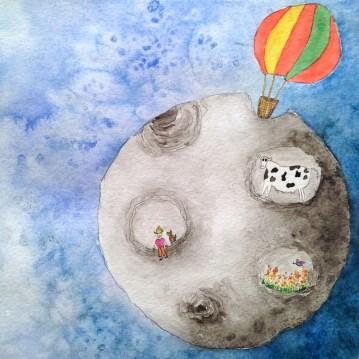 """Ilustração """"O segredo da Lua""""- aquarela sobre papel, 23 x24 cm. Disponível"""