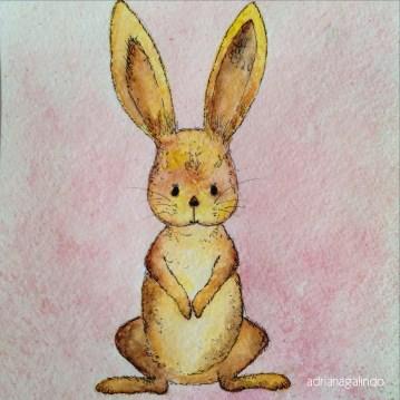 Coelho, aquarela sobre papel, - DISPONÍVEL